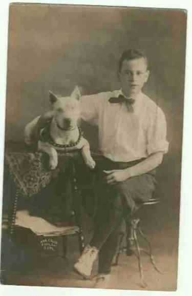 Vintage Picture of Boy with Pit Bull